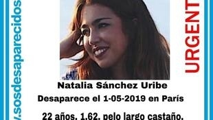 Natalia Sánchez Uribe as seen in a missing persons announcement on the Spanish website sosdesaparecidos.es