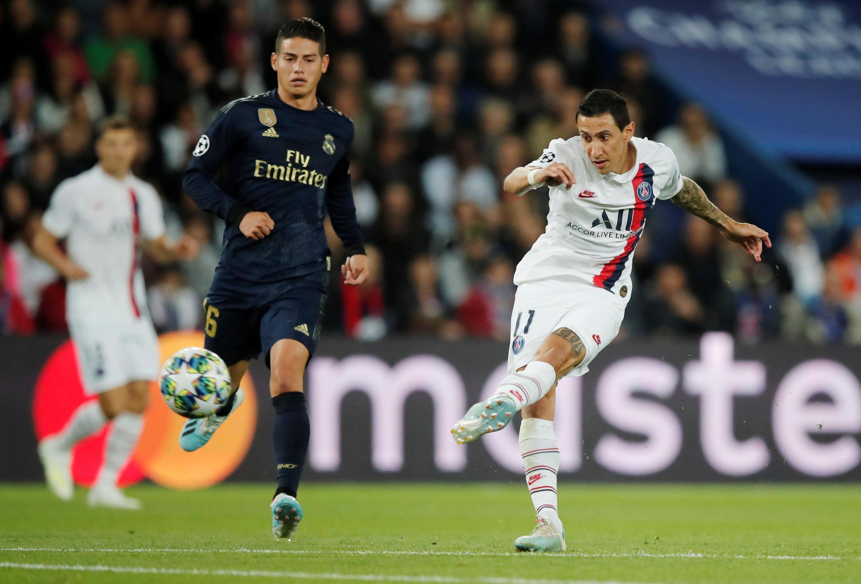 L'Argentin Angel Di Maria (à droite), buteur avec le PSG face au Real Madrid, en Ligue des champions.