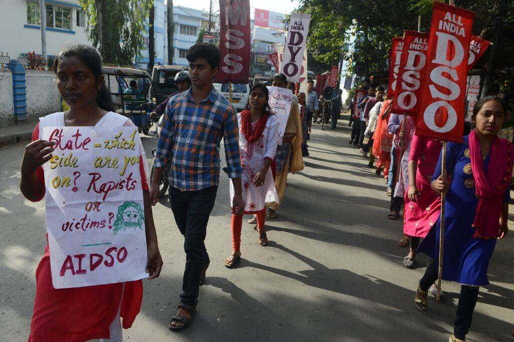 Students protest in the city of Siliguri againt the rape cases in the country, December 7, 2019