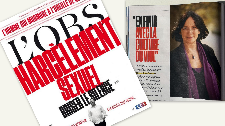 """Capa e artigo da revista semanal francesa L'OBS: """"Romper o silêncio e acabar com a cultura do estupro""""."""