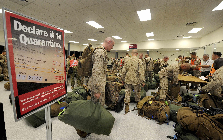 Đơn vị thủy quân lục chiến Mỹ đến căn cứ Darwin của Úc ngày 04/04/2012.