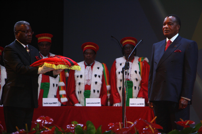 Le président congolais Denis Sassou-Nguesso, reconduit dans ses fonctions le 16 avril 2016 à Brazzaville.