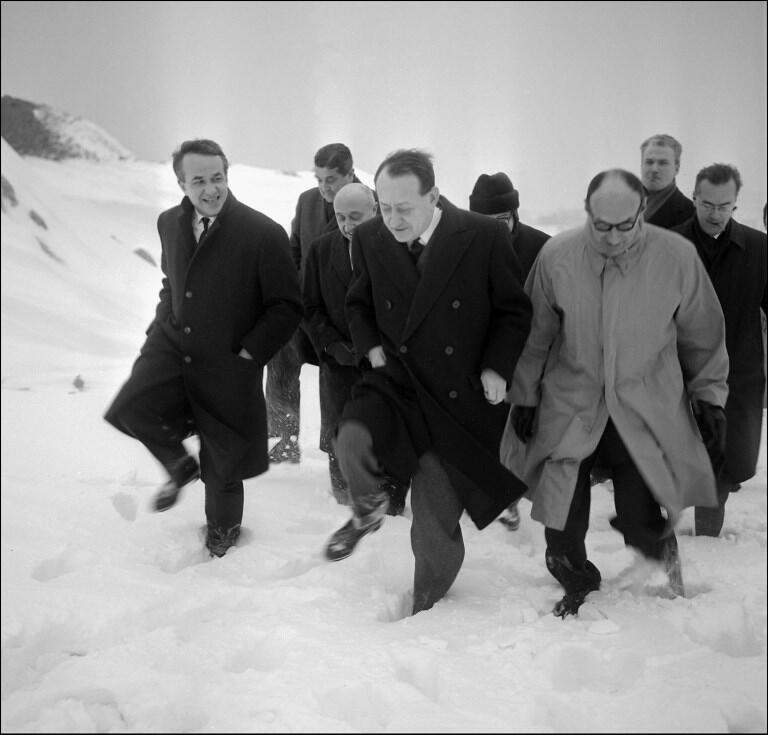 The plateau of Glières, symbol of the French Resistance, has always been a pilgrimage for political leaders: here, Andre Malraux, then Minister in charge of Culture uuder General de Gaulle, January 1966