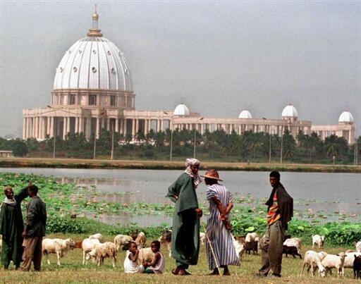 Des bergers font paître leurs troupeaux au bord du lac qui sépare la basilique Notre Dame de la Paix et le quartier populaire de Dioulabougou de Yamoussoukro.