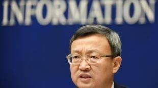 Thứ trưởng Thương Mại Trung Quốc Vương Thụ Vân ( Wang Shouwen ) họp báo tại Bắc Kinh ngày 25/09/2018.