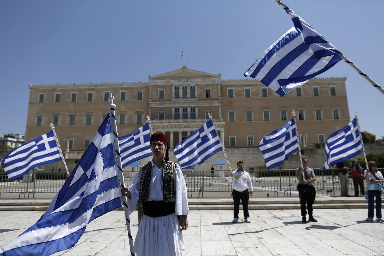 Biểu tình tại Hy Lạp chống kế hoạch khắc khổ của IMF và châu Âu. Ảnh chụp ngày 26/04/2013