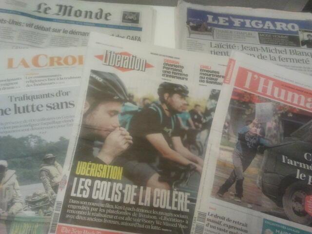 Primeiras páginas dos jornais franceses 22 de outubro de 2019