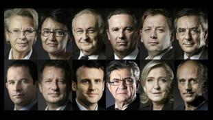 Los candidatos para las presidenciales: Michèle Alliot-Marie, Nathalie Artaud, Jacques Cheminade, Nicolas Dupont-Aignan, Bastien Faudot, François Fillon, Benoît Hamon, Yannick Jadot, Emmanuel Macron, Jean-Luc Mélenchon, Marine Le Pen y Philippe Poutou.