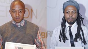 Madagascar, le 2 novembre à Antananarivo, Ando Rakotovoahangy, journaliste (g) et Jhons Ralainarivo, technicien de reportage, sont les deux lauréats malgaches qui ont reçu la Bourse Ghislaine Dupont et Claude Verlon.