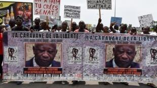 Manifestation pour la libération de l'ancien président Gagbo et contre le projet de nouvelle Constitution, Abidjan le 28 octobre 2016.