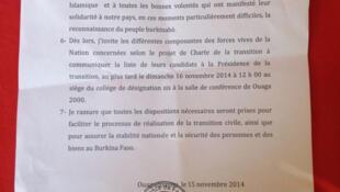 Documment officiel du rétablissement de la Constitution, au Burkina Faso, en novembre 2014.