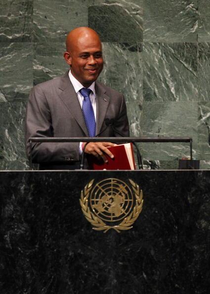 Michel Joseph Martelly, le président haïtien au siège des Nations unies à New York, en septembre 2012.