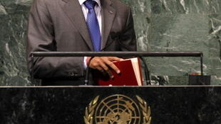 Michel Joseph Martelly, le président haïtien au siège des Nations unies à New York.