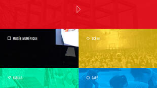 Vue de la page d'accueil du site de la Micro-Folie à la Médiathèque des Mureaux, en banlieue parisienne.