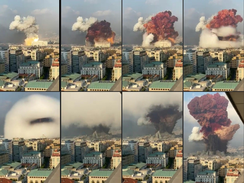 Imágenes grabadas desde oficinas muestran la explosión del 4 de agosto de 2020 en el puerto de Beirut, que mató a más de 200 personas, desfiguró la capital libanesa y traumatizó a toda una nación
