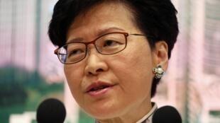 La dirigeante de l'exécutif de Hong Kong, Carrie Lam, en conférence de presse ce samedi 15 juin 2019.
