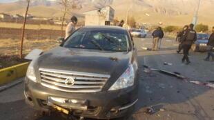 Em 27 de novembro de 2020, perto de Teerã, a situação após o ataque ao veículo do cientista nuclear iraniano Mohsen Fakhrizadeh, funcionário do Ministério da Defesa de seu país.