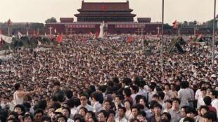 圖為1989年6月2日天安門廣場學生示威場面
