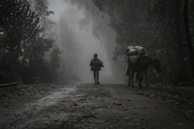 Un niño camina en la niebla cerca del pueblo de Chenna, en el norte de Etiopía, el 14 de septiembre de 2021