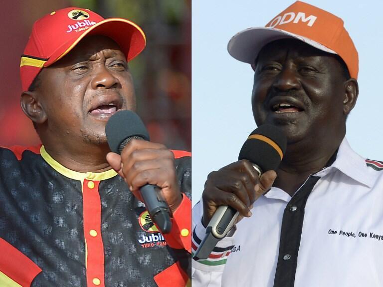 Rais wa Kenya Uhuru Kenyatta (Kushoto), kiongozi wa upinzani NASA Raila Odinga (Kulia)