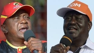 Fotomontagem do Presidente cessante Uhuru Kenyatta (esq) e do líder da oposição Raila Odinga.