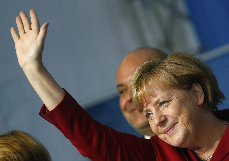 Achanceler  Angela Merkel durante sua campanha eleitoral.