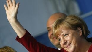 German Chancellor and conservative Christian Democratic Union (CDU) leader Angela Merkel during an election campaign rally