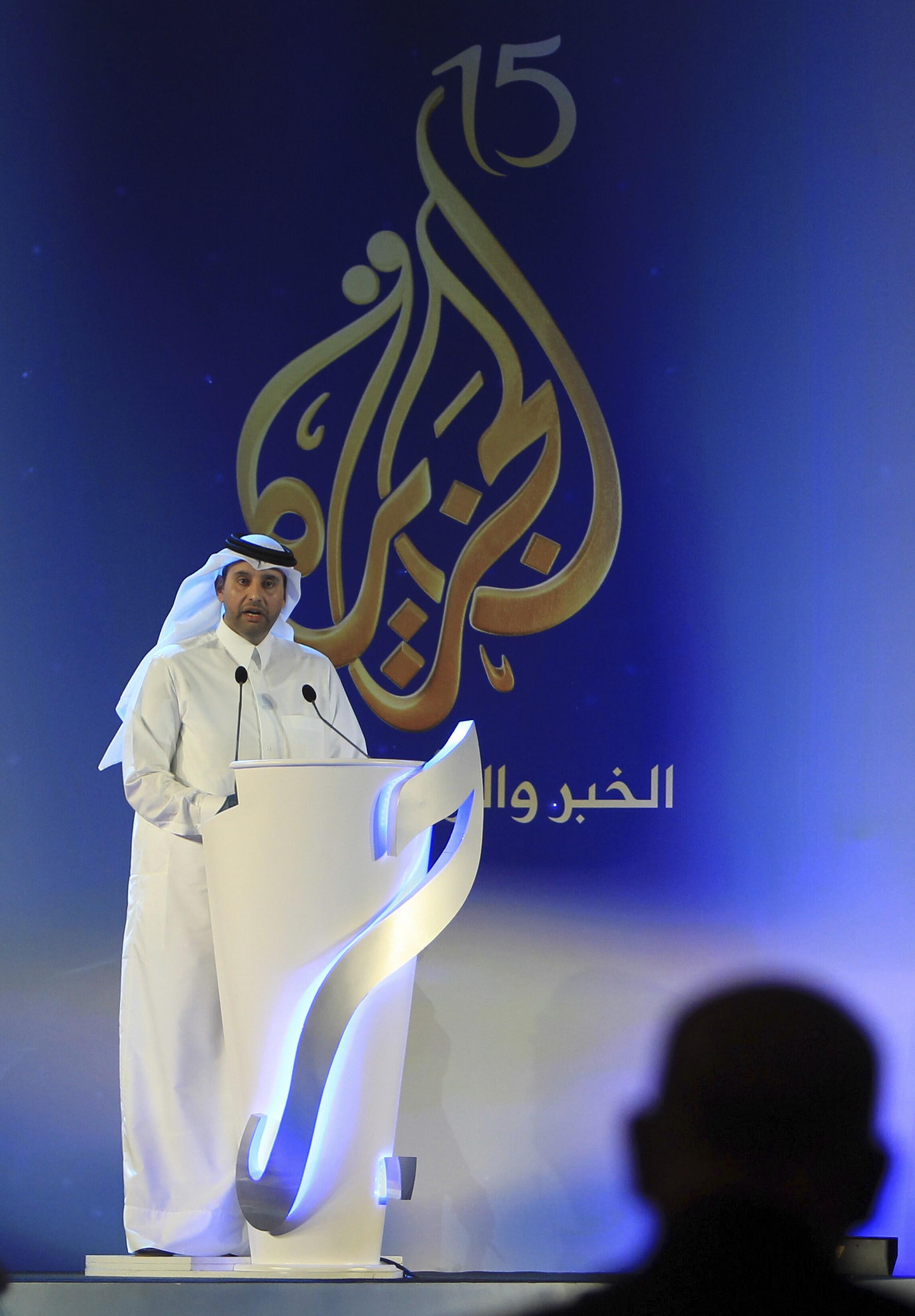 Le nouveau directeur de la chaîne de télévision Al-Jazira, Sheikh Ahmed Bin Jassem Al-Thani, lors d'un discours à l'occasion du 15e anniversaire de la chaine de télévision qatarie, le 1er novembre 2011 à Doha.