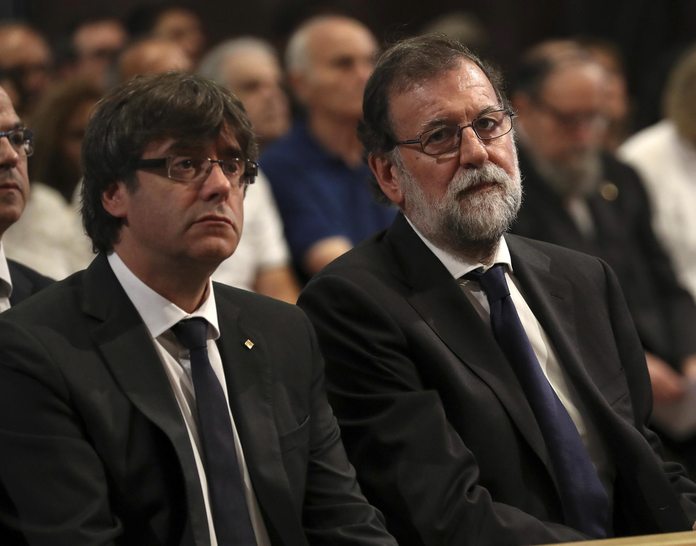 MM. Puigdemont et Rajoy, ensemble à Barcelone ce dimanche 20 août 2017.