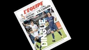 A capa do jornal francês L'Equipe dá destaque ao empate entre o Olympique de Marselha e o Paris Saint-Germain na noite deste domingo.