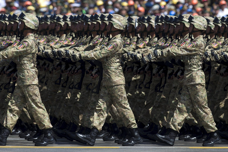 紀念抗戰70周年閱兵式上的解放軍士兵 2015年9月3日北京