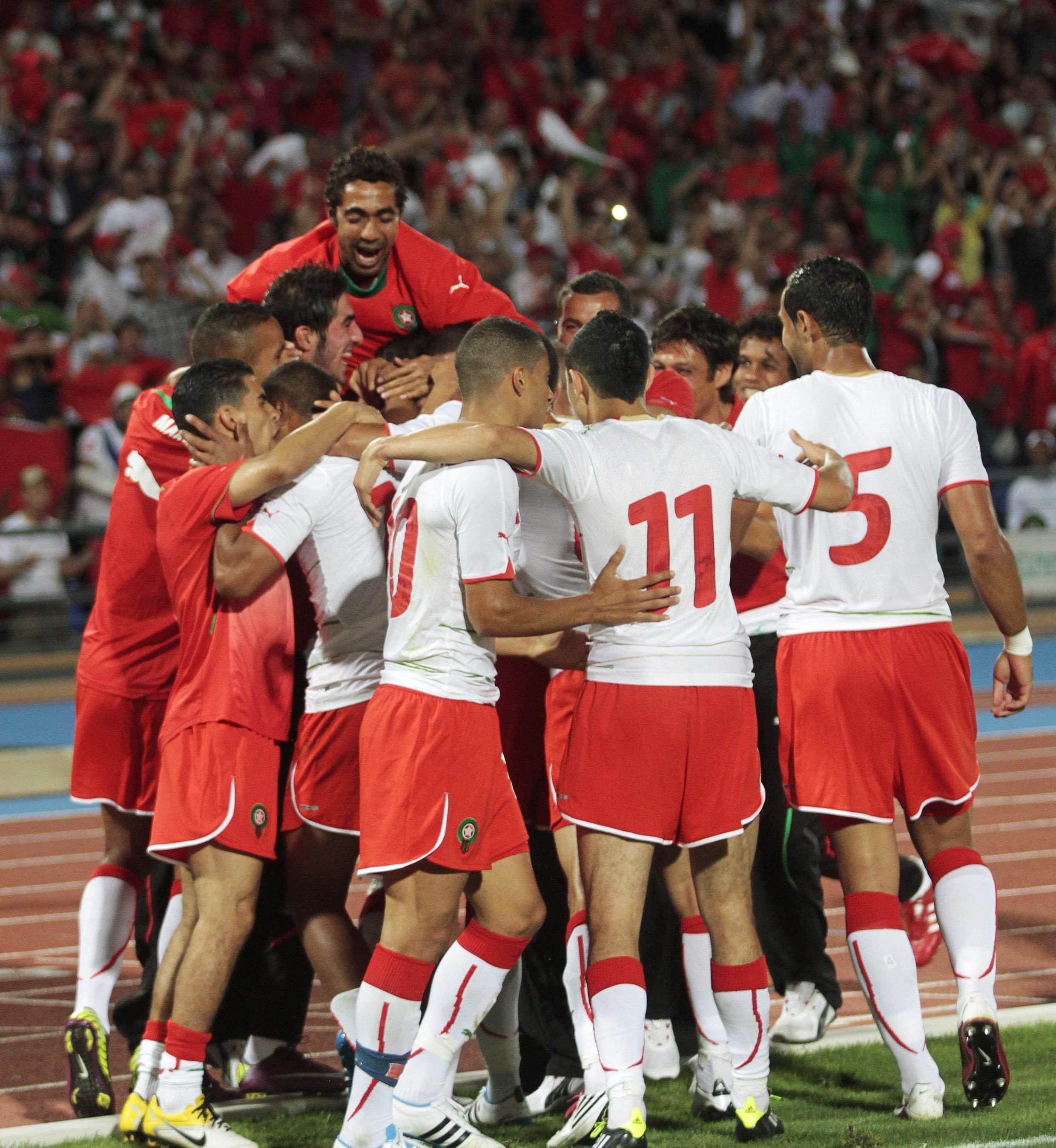 L'équipe du Maroc exulte après sa qualification pour la CAN 2012.