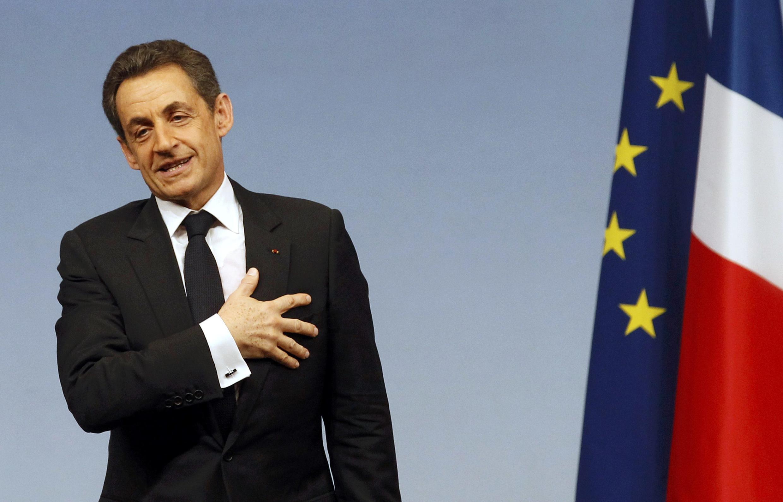 Николя Саркози на своем первом большом предвыборном митинге в Марселе 19 февраля 2012.