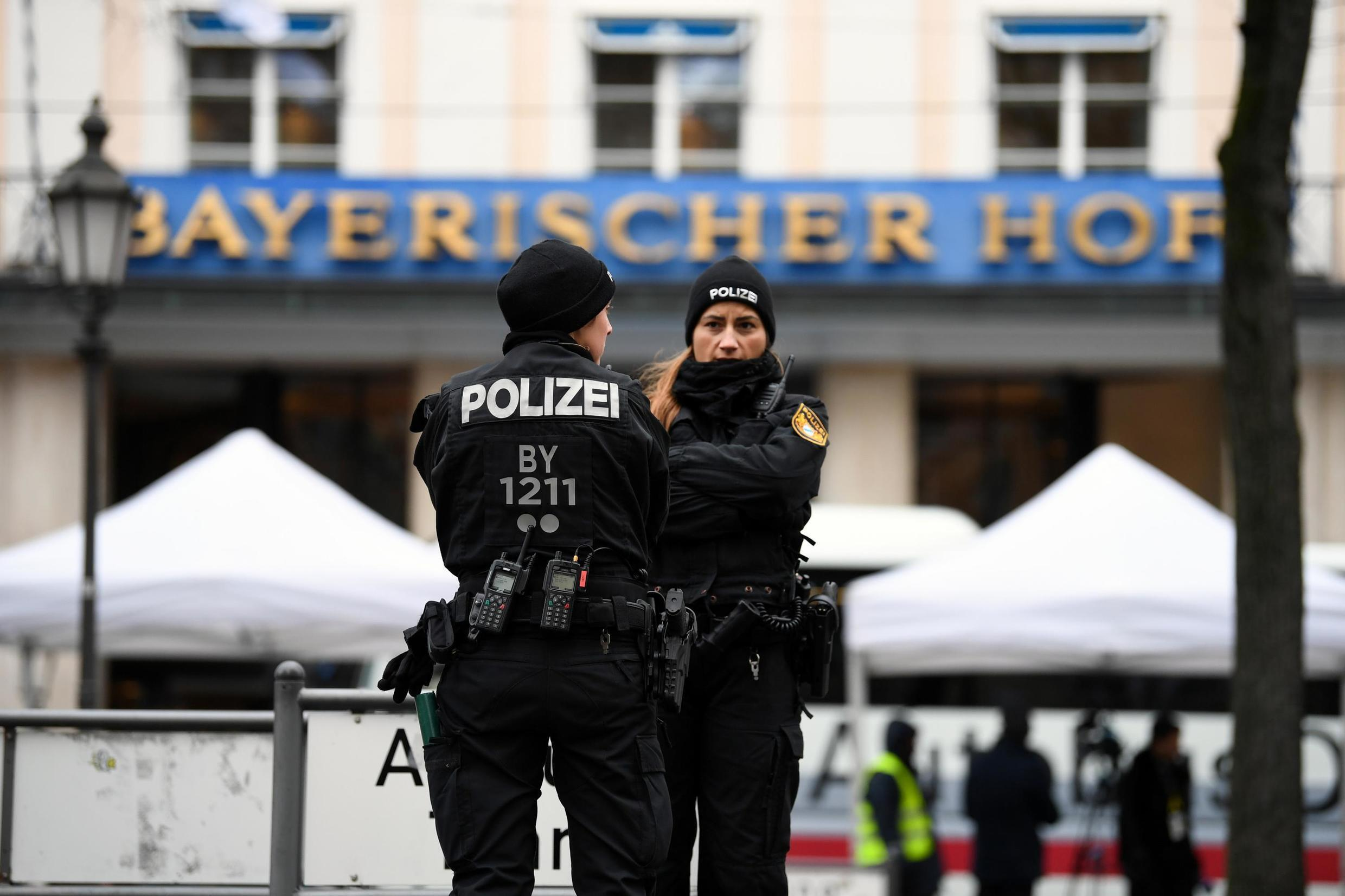 Police officers secure a street outside the venue of the annual Munich Security Conference in Germany February 14, 2020.