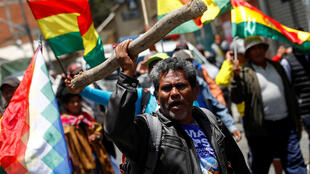 Des partisans du président Morales manifestent à La Paz, la capitale bolivienne, le 31 octobre 2019.