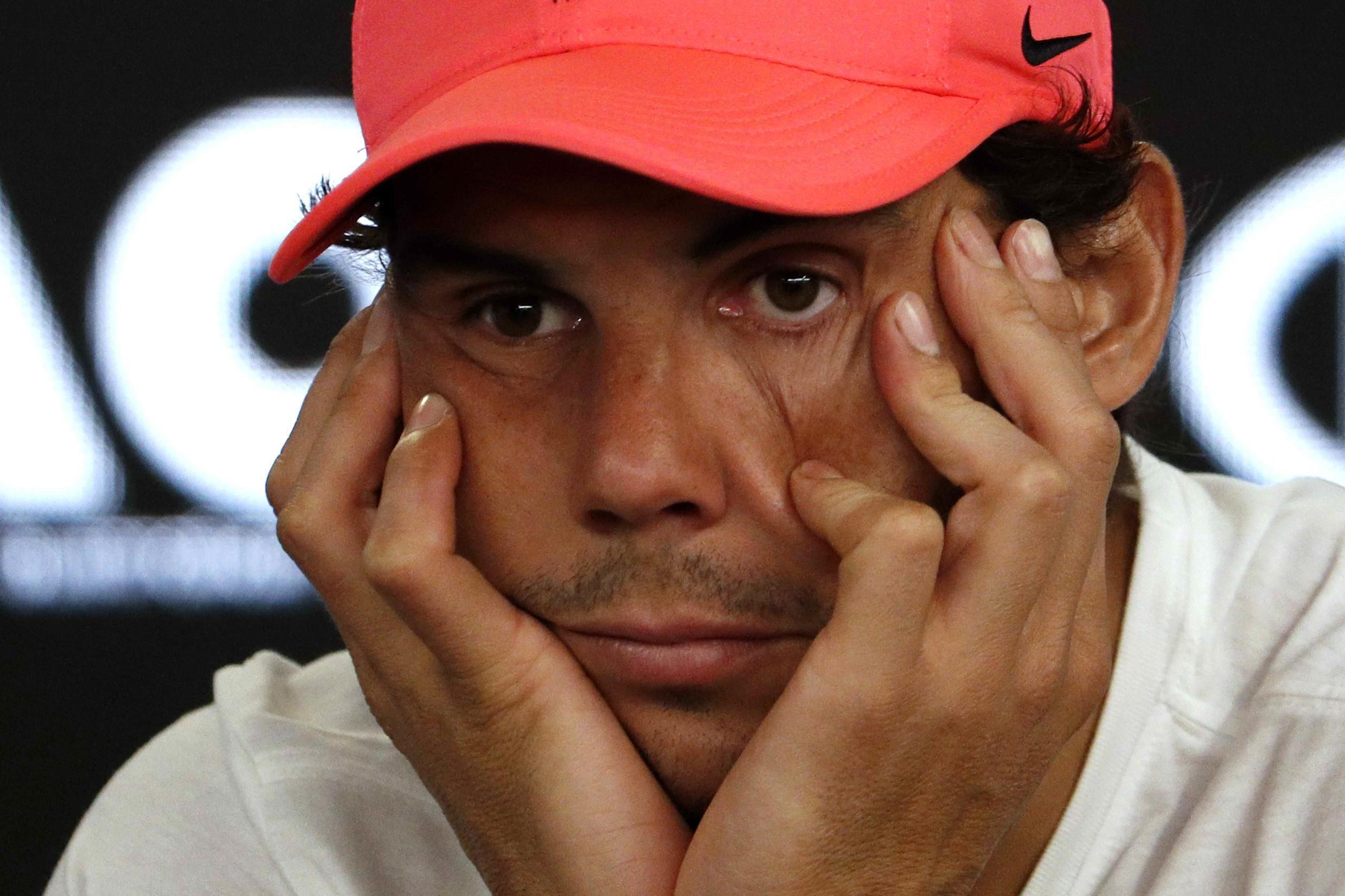 Tennis - Australian Open - Quarterfinals - Rod Laver Arena, Melbourne, Australia, January 23, 2018. Spain's Rafael Nadal during a press conference after retiring from his match due to injury against Croatia's Marin Cilic.