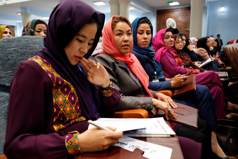 Des femmes participant à la Loya Jirga, à Kaboul le 29 avril 2019.