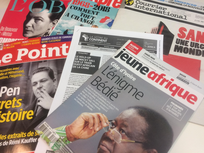 Capas dos semanários sobre actualidade africana e mundial de 24/02/2018