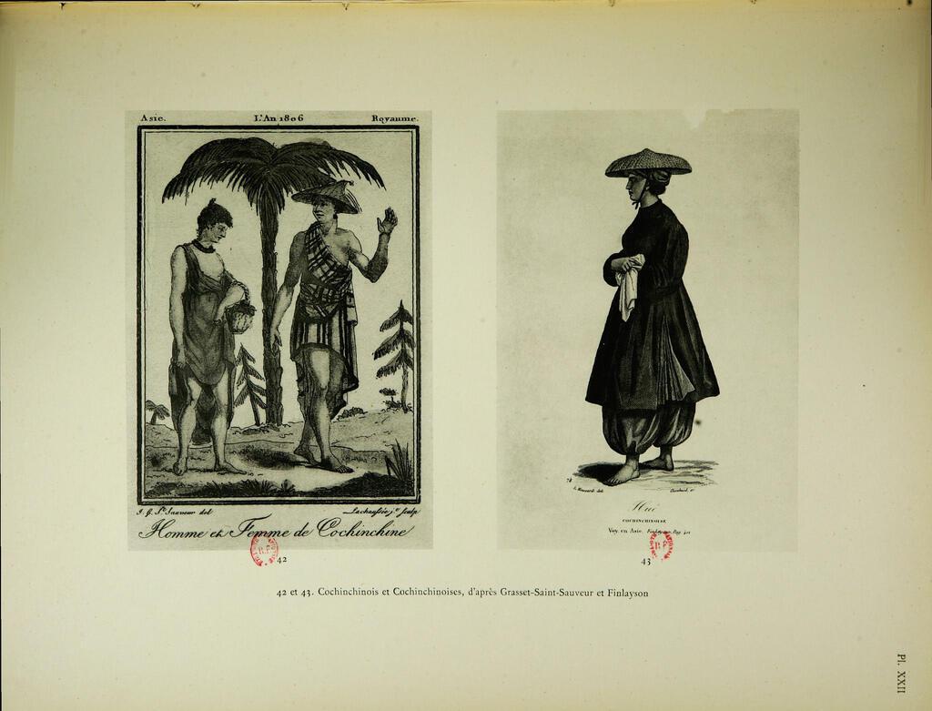 Chân dung người Nam Kỳ năm 1806, trích trong cuốn Tập tranh lịch sử về xứ Đông Dương thuộc Pháp (Iconographie historique de l'Indochine française, 1931).