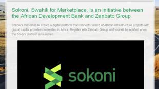 Une copie d'écran du nouveau site en ligne Sokoni.com.