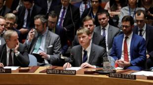 Đại sứ Anh tại Liên Hiệp Quốc Jonathan Allen (G) phát biểu trong cuộc họp khẩn của Hội Đồng Bảo An, New York, ngày 14/03/2018.