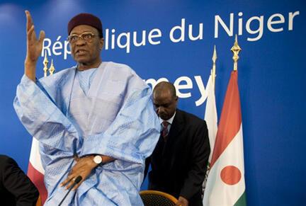 Marigayi Mamadou Tandja, président du Niger, à Niamey le 27 mars 2009.