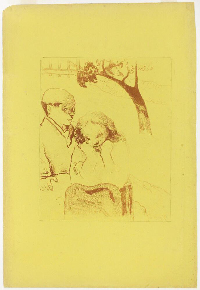 Une des nouvelles acquisitions du musée Pont-Aven : Paul Gauguin, « Les Misères humaines » (détail), 1889, zincographie sur papier jaune, H.64,2 x L.49,5 cm. Don des Amis du Musée de Pont-Aven.