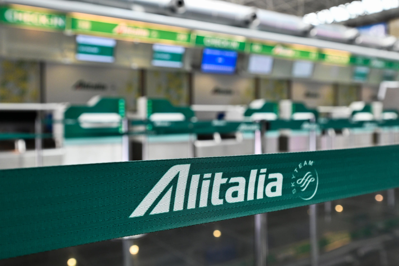 El sector de la aerolínea italiana Alitalia, el 17 de marzo de 2020, en el aeropuerto Fiumicino de Roma