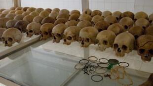 Skulls displayed at the Nyamata Memorial Site, Rwanda
