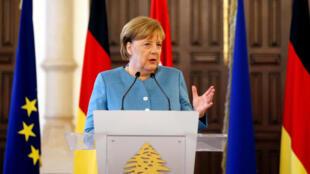 آنگلا مرکل، صدراعظم آلمان در کنفرانس مشترک با سعد حریری، نخست وزیر موقت لبنان. بیروت جمعه اول تیر/ ٢٢ ژوئن ٢٠۱٨ .