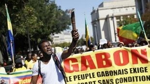 About 1,000 Gabonese protested against the official presidential election result in Paris on 3 September