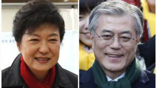Ứng cử viên đảng bảo thủ, bà Park Geun Hye và ứng viên trung tả Moon Jae In (Reuters)