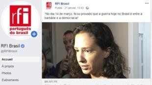 Mônica Benício, esposa de Marielle Franco, foi entrevistada pela rádio francesa France Info.