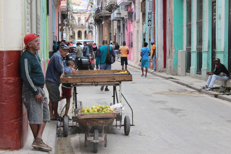 Vendores informais comercializam frutas em Havana.